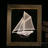 Домашняя рамка древесины света ночи парусника СИД украшения