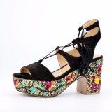 (Donna-em) mulheres com cordões Embroidery&#160 do salto elevado da forma; Sandálias da plataforma