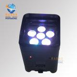Móvil elegante LED Uplight de la nueva de la venta 6*18W 6in1 Rgbaw WiFi APP LED de la base de Rasha luz con pilas ULTRAVIOLETA caliente de la IGUALDAD para el disco del acontecimiento