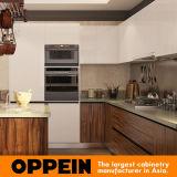 Oppein moderne dunkle hölzerne Korn Kurbelgehäuse-Belüftung U-Form MDF-Küche-Schränke (OP16-PVC06)
