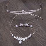 Jóia das tiaras do cabelo do brinco da colar do Zircon da alta qualidade para o casamento da noiva