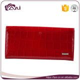 Бумажника кожи крокодиловой кожи бумажника женщин способа бумажник типа яркого красного длинний для повелительницы