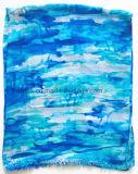 Signora viscosa Scarf (HWBVS054) di stampa blu personalizzata stile della spiaggia