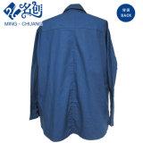 Azul oscuro de manga larga de vuelta-Abajo botón de collar del algodón cómodo blusa de las señoras