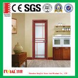 Дверь европейского стандарта прикрепленная на петлях алюминием с стеклом Foat
