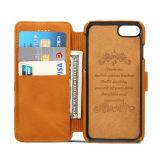 Caja del cuero de la carpeta del teléfono móvil para iPhone7 7plus con la ranura para tarjeta