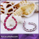 Boucle d'oreille plaquée d'or blanc de la CZ de rubis de mode de fournisseur de la Chine