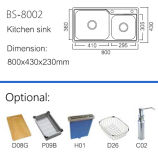 De sanitaire Gootsteen van de Keuken van het Staal van de Gootsteen van Waren Dubbele (BS-8002)