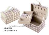 La caja de joyería de cuero de moda de grano de la rejilla de la PU
