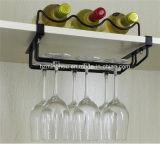 Estante práctico del vino del metal para el hogar con el estante del vidrio de vino