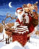 Pintura da decoração do Natal, presente do Natal, Papai Noel, cervos,