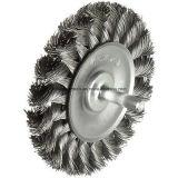 Cepillo de alambre de acero circular anudado con el eje