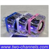 Mini altavoz cristalino con la radio de la tarjeta FM del TF del disco del USB. MP3 Boombox para Smartphone, altavoz al aire libre