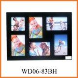 6 раскрывая черных деревянных рамок фотоего коллажа стены вися (WD06-83BH)