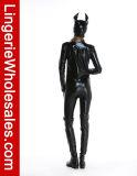 섹시한 여자의 Halloween 파티복 젖은 보기 고양이 Bodysuit 복장