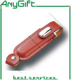 돋을새김된 로고 27를 가진 가죽 USB 섬광 드라이브