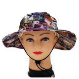 Cappello floreale promozionale su ordinazione di pesca della protezione della benna di stampa con stringa