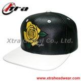 Cuero Snap Back Cap Rose bordado PU Caps cuero