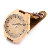 Relógios de madeira de couro populares feitos sob encomenda para mulheres dos homens