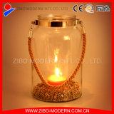 Suporte de vela de vidro popular com corda portátil