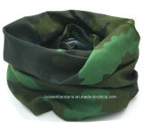 Sciarpa multifunzionale senza giunte personalizzata promozionale del tubo del collo del poliestere di stampa del camuffamento di verde dell'esercito stampata marchio