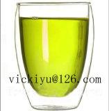 vaso di vetro della bevanda del gufo verde 300ml con il coperchio