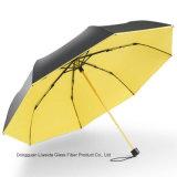 UVschutz-leichter faltender Regenschirm mit schwarzer Beschichtung