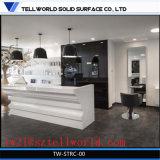 Compteur en pierre de marbre artificiel de réception de meubles de seul bureau en forme de L