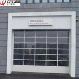 Porta secional desobstruída de alumínio do vidro Tempered de projeto moderno para a garagem