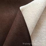 Tissu 100% en cuir de polyester de suède d'estampage d'or avec le support d'ouatine