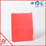 Sac plat de papier d'emballage de traitement/sac de papier de achat estampé avec des traitements