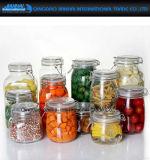 クリップが付いている円形のガラスジャムの食糧記憶のKilnerの塩の瓶