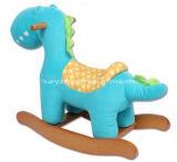 Dinossauro do azul do cavalo de balanço da fonte da fábrica