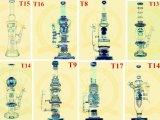Pipe impétueuse en verre de cuvette de glaçure de barboteur de becher de bras de corona d'arbre de douche de Percolater de qualité de recycleur de tabac de couleur de cuvette de métier de cendrier de pipes en verre grandes duelles en verre