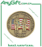3D Medal con Soft Enamel e Antique Brass Plating