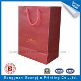 金ロゴのカスタマイズされた赤いカラークラフト紙のワイン・ボトル袋