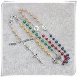 Rosaire, Rosaires, Rosaire religieux, Rosaire en bois, Rosaire de verre (IO-cr000)