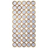 50小さい円形の組み立てられたミラーから成っているAntiqued金によって終えられるフレーム