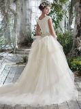 Скромное платье венчания 0060 с белой короткой мантии невесты поезда суда втулки