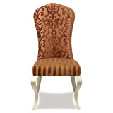 椅子を食事する木の白革のレストラン