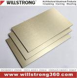 Panneau composé en aluminium balayé d'or pour le revêtement de mur