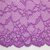 Testi fissi elastici viola del merletto del voile per gli indumenti e la biancheria intima