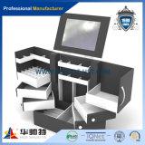 Scatola di presentazione acrilica nera con gli ami della spina, visualizzazione acrilica di trucco, basamento acrilico