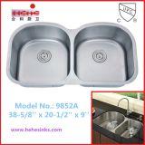 Cupc узнало равную двойную раковину кухни нержавеющей стали шара (9852)