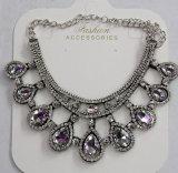 女性の方法宝石類の青いWaterdropのガラス水晶吊り下げ式のネックレス(JE0210)