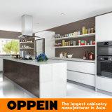 Moderne weiße Acrylspanien gesinterte Felsen-hölzerne Küche-Schränke (OP16-A02)