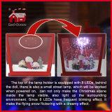 빨강 눈이 내리는 음악 점화된 크리스마스 탁상 램프