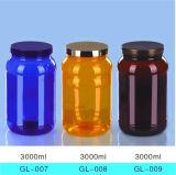contenitore di alimento di plastica della polvere della proteina della bottiglia dell'animale domestico rotondo 3liter con la paletta