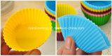 copos do queque do silicone da forma 12PCS/Lot redonda para o cozimento
