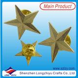 Emblema de bronze da estrela do projeto moderno com a placa de ouro brilhante